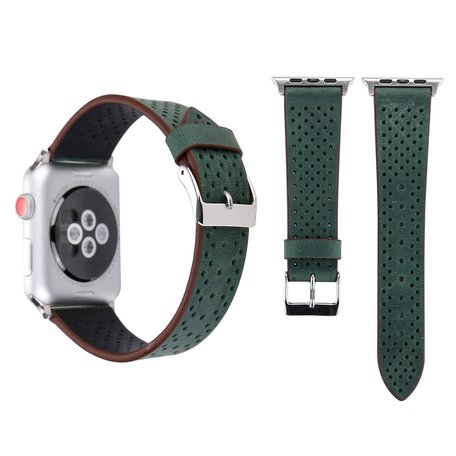 Leren Apple watch bandje 42mm / 44mm - Dot pattern - Donker groen