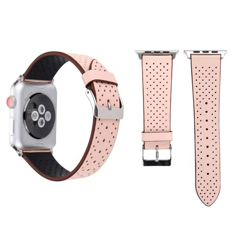 Leren Apple watch bandje 42mm / 44mm - Dot pattern - Roze