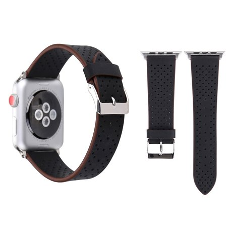 Leren Apple watch bandje 42mm / 44mm - Dot pattern - Zwart