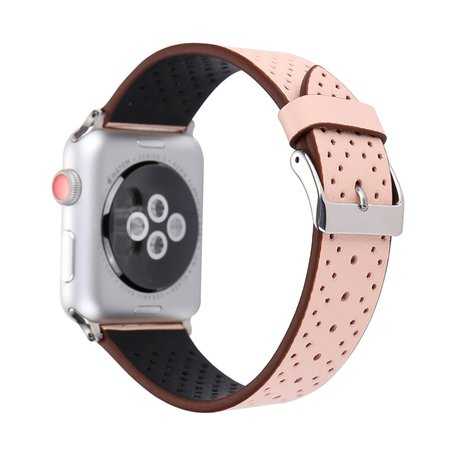 Leren Apple watch bandje 38mm / 40mm - Dot pattern - Roze