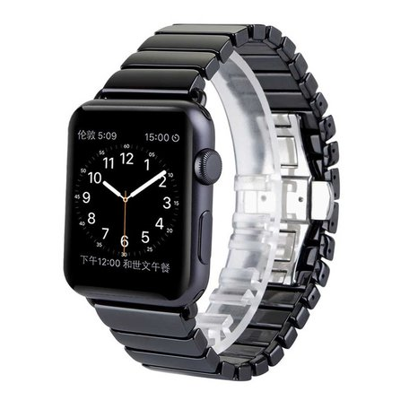 Schakelarmband Keramisch Apple watch 42mm / 44mm bandje - Zwart