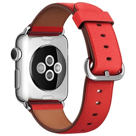 Apple watch classic lederen band 42/44 mm - Rood
