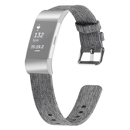 Fitbit Charge 2 Canvas Bandje (Small) - Zwart / Grijs