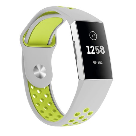 Fitbit Charge 3 & 4 siliconen DOT bandje - Groen / Grijs (Small)