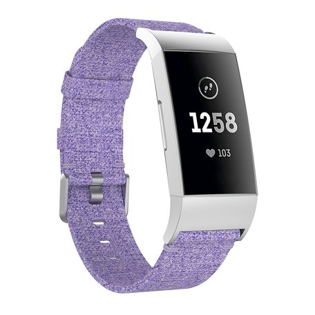 Fitbit Charge 3 & 4 nylon bandje - Licht paars