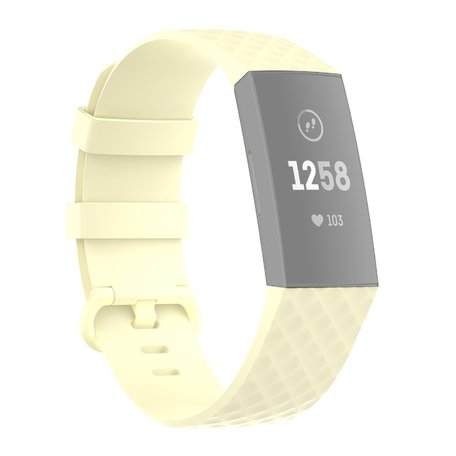 Fitbit Charge 3 & 4 siliconen diamant pattern bandje (Large) - Lichtgeel
