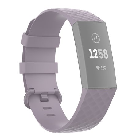 Fitbit Charge 3 & 4 siliconen diamant pattern bandje (Large) - Lichtpaars