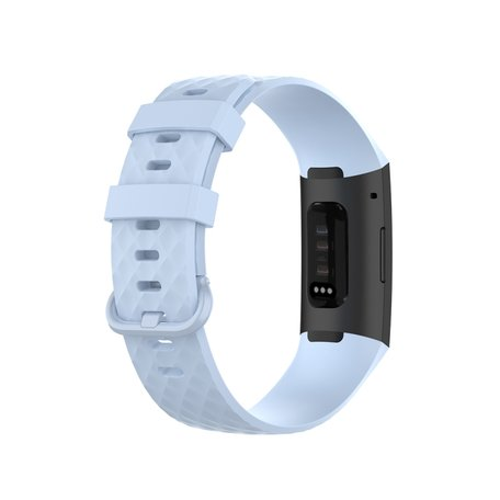 Fitbit Charge 3 & 4 siliconen diamant pattern bandje (Large) - Lichtblauw