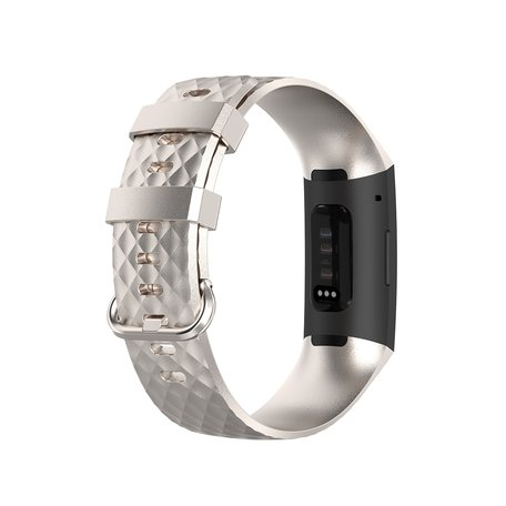 Fitbit Charge 3 & 4 siliconen diamant pattern bandje (Small) - Champagne goud