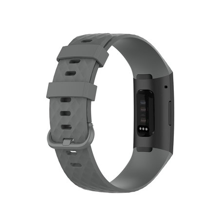 Fitbit Charge 3 & 4 siliconen diamant pattern bandje (Small) - Grijs