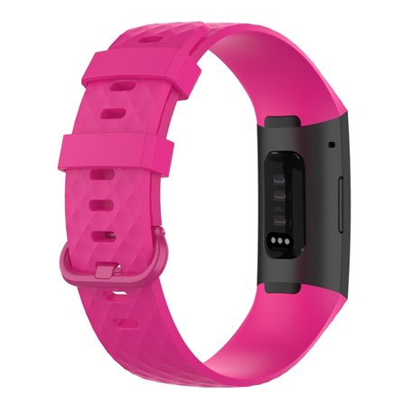 Fitbit Charge 3 & 4 siliconen diamant pattern bandje (Small) - Roze