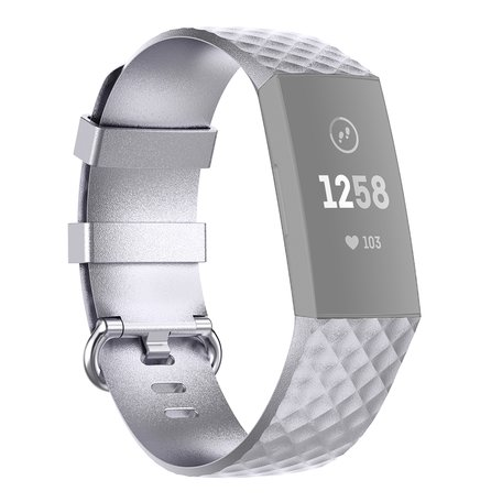 Fitbit Charge 3 & 4 siliconen diamant pattern bandje (Large) - Zilver