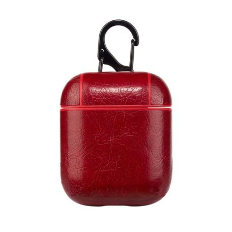 AirPods 1/2 hoesje Litchi TPU Series - hard case - Rood