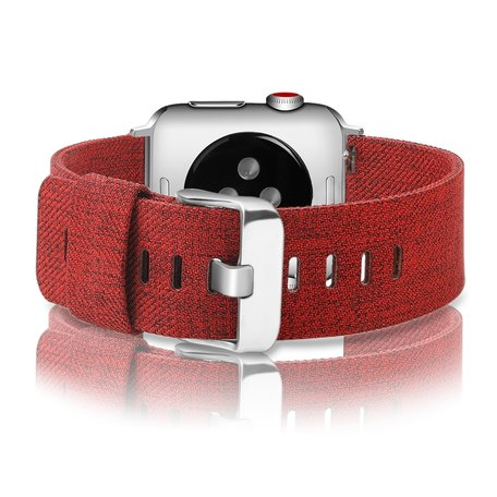 Apple Watch 42/44mm Canvas bandje - Rood