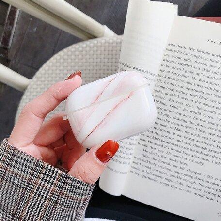 AirPods Pro hoesje Marble series - hard case - Marble roze - Schokbestendig
