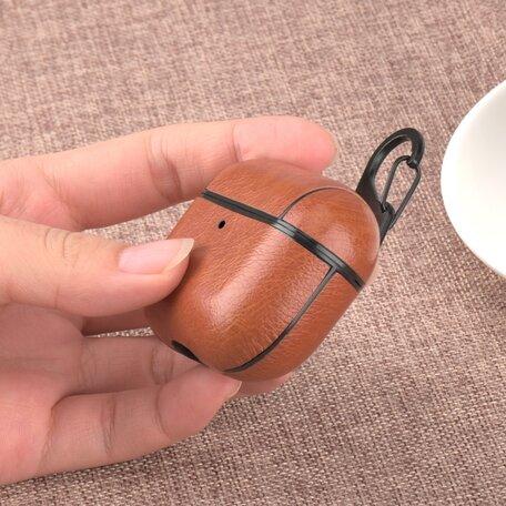 AirPods Pro lederen hoesje Pro Leather series - Met bevestigingsclip - Donker bruin