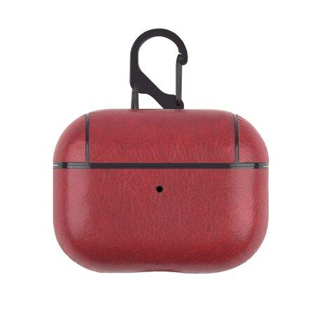 AirPods Pro lederen hoesje Pro Leather series - Met bevestigingsclip - Rood