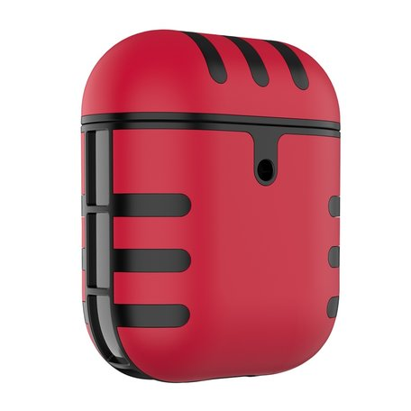 AirPods 1/2 hoesje siliconen + hard plastic Cat series - rood