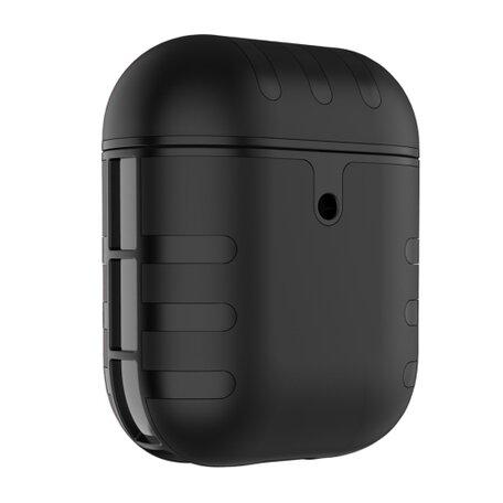 AirPods 1/2 hoesje siliconen + hard plastic Cat series - zwart