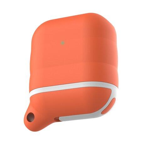 AirPods 1/2 hoesje siliconen waterproof series - soft case - oranje + wit