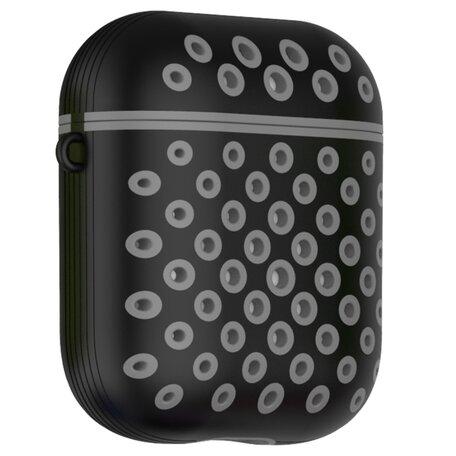 AirPods 1/2 hoesje siliconen holow Series - hard case - zwart / grijs - UV bescherming