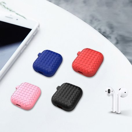AirPods 1/2 hoesje siliconen Braided Series - soft case - roze