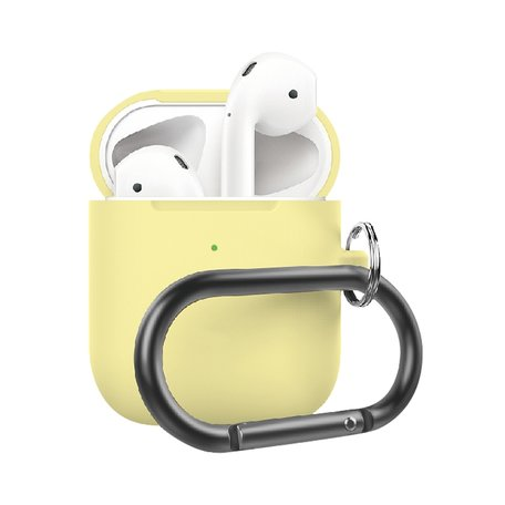 AirPods 1/2 hoesje siliconen chargebox Series - soft case - geel - UV bescherming