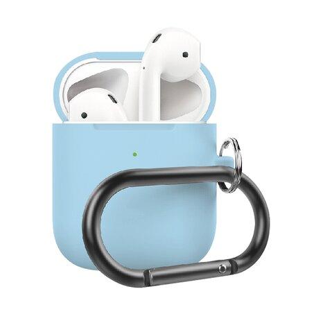 AirPods 1/2 hoesje siliconen chargebox Series - soft case - licht blauw - UV bescherming