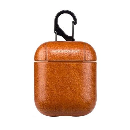 AirPods 1/2 hoesje Litchi PU Series - hard case - licht bruin