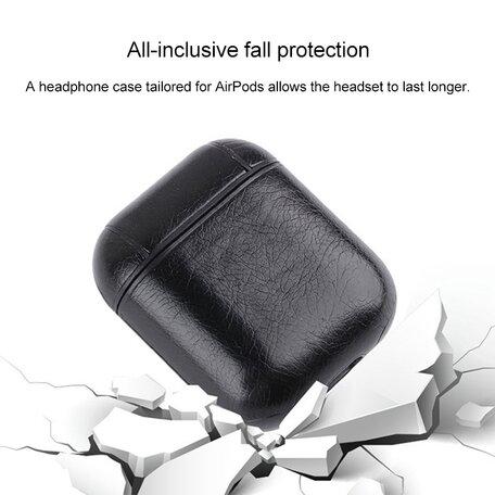 AirPods 1/2 hoesje Litchi PU Series - hard case - zwart