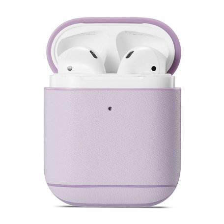AirPods 1/2 hoesje Genuine Leather Series - hard case - licht paars