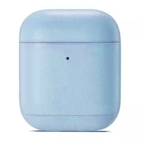 AirPods 1/2 hoesje Genuine Leather Series - hard case - licht blauw