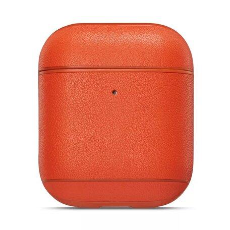 AirPods 1/2 hoesje Genuine Leather Series - hard case - oranje