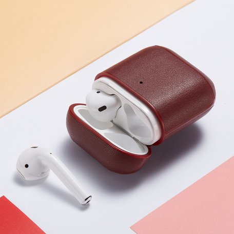 AirPods 1/2 hoesje Genuine Leather Series - hard case - Wijn rood