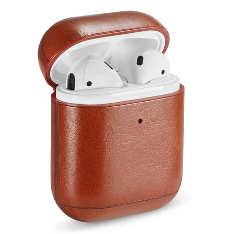 AirPods 1/2 hoesje Genuine Leather Series - hard case - bruin