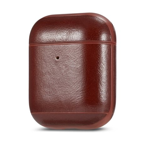AirPods 1/2 hoesje Genuine Leather Series - hard case - donker bruin
