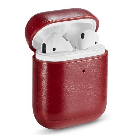 AirPods 1/2 hoesje Genuine Leather Series - hard case - rood