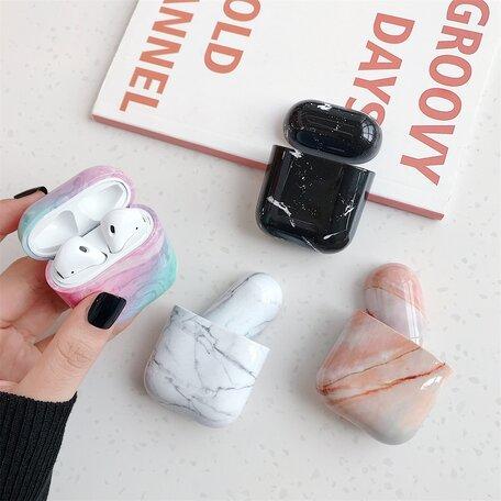 AirPods 1/2 hoesje Marble series - hard case - Marble roze - Schokbestendig