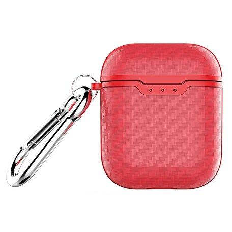 AirPods carbon fiber hoesje voor AirPods 1/2 - Rood + handige clip