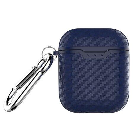 AirPods carbon fiber hoesje voor AirPods 1/2 - Blauw + handige clip