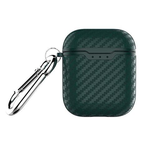 AirPods carbon fiber hoesje voor AirPods 1/2 - Groen + handige clip