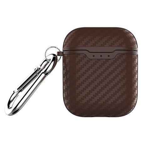 AirPods carbon fiber hoesje voor AirPods 1/2 - Coffee + handige clip