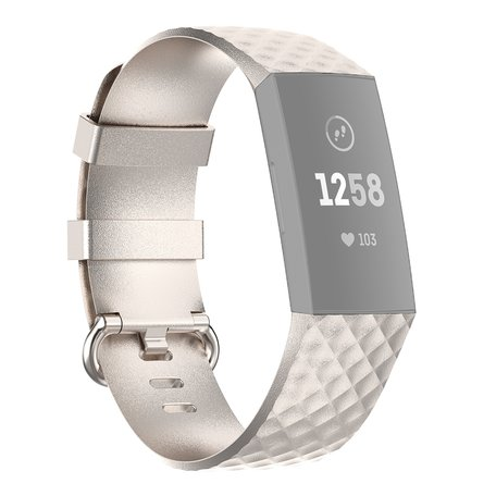 Fitbit Charge 3 & 4 siliconen diamant pattern bandje (Large) - Champagne goud
