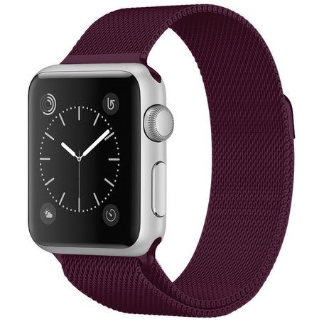 Milanees Apple watch bandje 42mm / 44mm RVS - Wijnrood