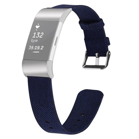Fitbit Charge 2 Canvas bandje - Maat: Small - Blauw