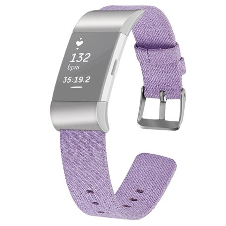 Fitbit Charge 2 Canvas bandje - Maat: Small - Lila