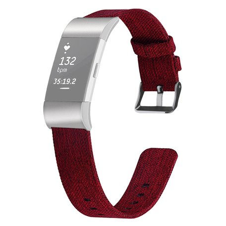 Fitbit Charge 2 Canvas bandje - Maat: Small - Rood