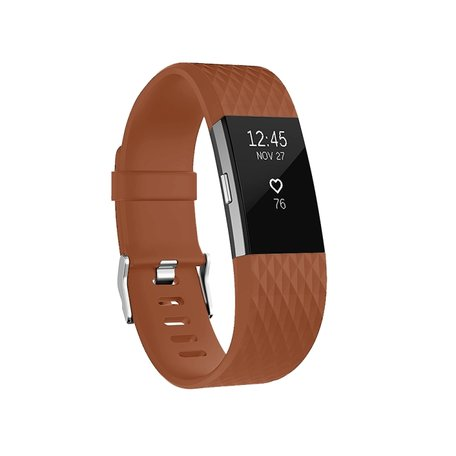 Fitbit Charge 2 siliconen bandje - Maat: Small - Coffee