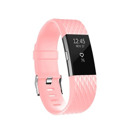 Fitbit Charge 2 siliconen bandje - Maat: Small - Roze