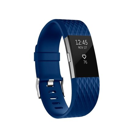 Fitbit Charge 2 siliconen bandje - Maat: Small - Blauw